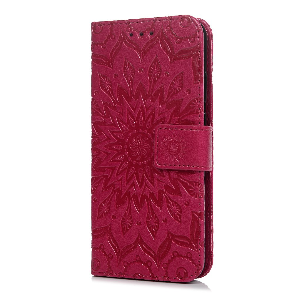 Tophung Huawei P20 Case Blue, Shockproof Premium PU Leather Flip Wallet Case Embossed Sunflower with Kickstand ID Card Holder Folio Magnetic Closure Protective Skin Case Cover for Huawei P20