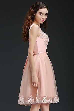 9832720c237 MisShow Damen Prinzessin Spitze Ballkleid Festliches Kleid Perstickerei Kurz  Rosa Gr.38  Amazon.de  Bekleidung