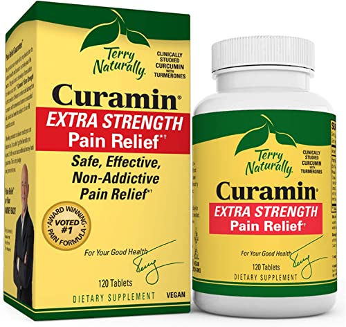 Terry Naturally Curamin Extra Strength – 120 Vegan Tablets – Non-Addictive Pain Relief Supplement with Curcumin from Turmeric, Boswellia DLPA – Non-GMO, Gluten-Free – 40 Servings