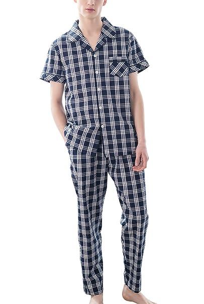 Ruishi Pijama de 2 Piezas de Hombre Conjunto de Ropa Dormir Sleepwear Manga Corta Patrón Cuadros