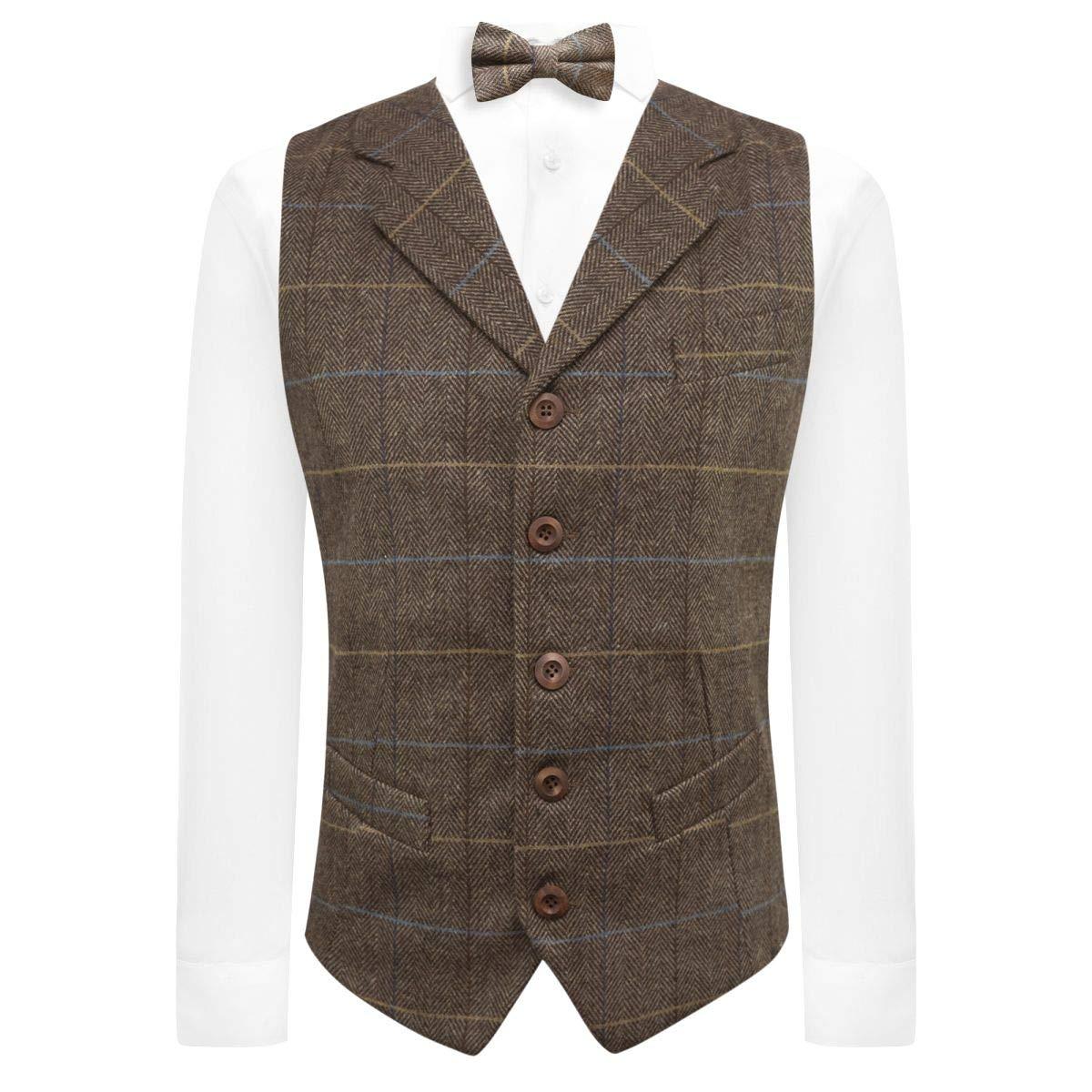 King /& Priory Walnut Brown Herringbone Check Waistcoat with Lapel Tweed