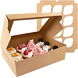 Moretoes Cupcake Boxes 20 Packs, Brown Cupcake Carrier, Food Grade Kraft Bakery Boxes with Windows and Inserts to Fit 12…