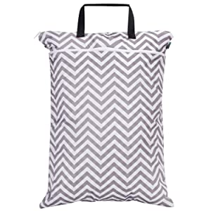 Teamoy Wet Dry Bag, Travel Tote Organizer (24.7 x 18 inches) with Two Compartments for Cloth Diaper, Laundry, Swimsuits and More, Easy to Hang Everywhere