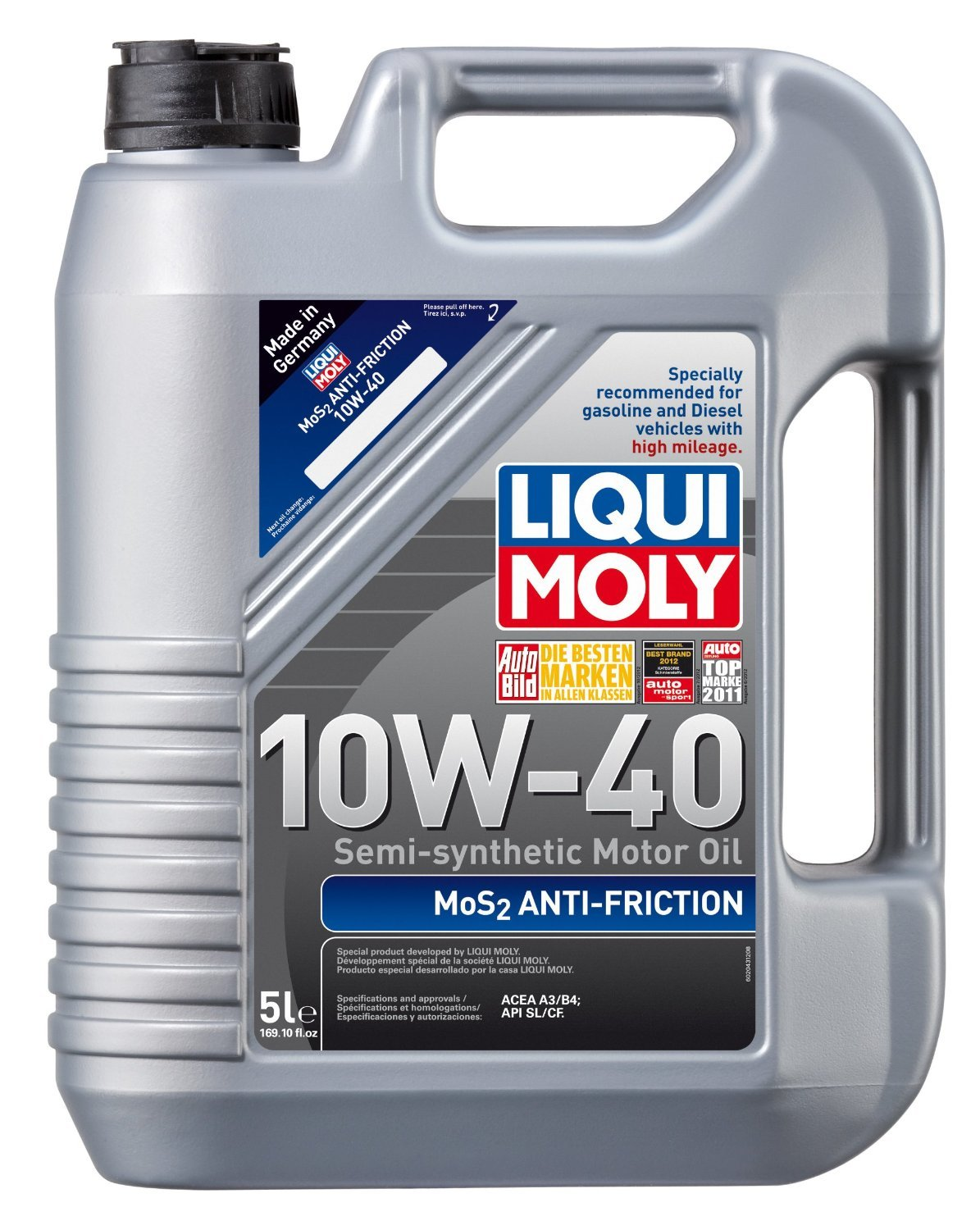 Liqui Moly (2043-4PK) MoS2 Anti-Friction 10W-40 Motor Oil - 1 Liter, (Pack of 4)