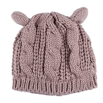 8188abc988a MMJ Women s Warm Hat-Rabbit Ear Knit Hat Thick Double-Layer Wool Autumn and