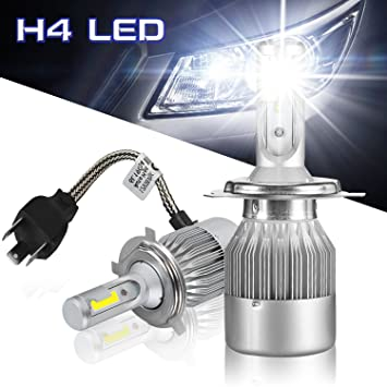 Hltd C9-H4 LED faros Kit Bombillas COB Chip 7600lm 72W Hi / Lo Beam