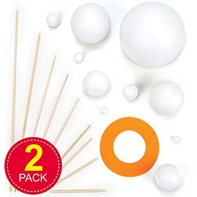 Make Your Own Solar System Kits with Various Sizes Polystyrene Balls, Foam Pieces &Wooden Sticks for Kids Science Projects(Pack of 2 Kits): Home & Kitchen