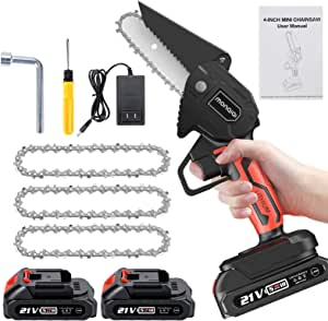 Mini Chainsaw with 3Pcs Chain,Monqiqi 4-Inch Electric Chainsaw,Small Chainsaw 2Pcs Rechargeable Batteries Operated, Household Battery Chainsaw for Wood Cutting, Tree Pruning and Gardening (Black)