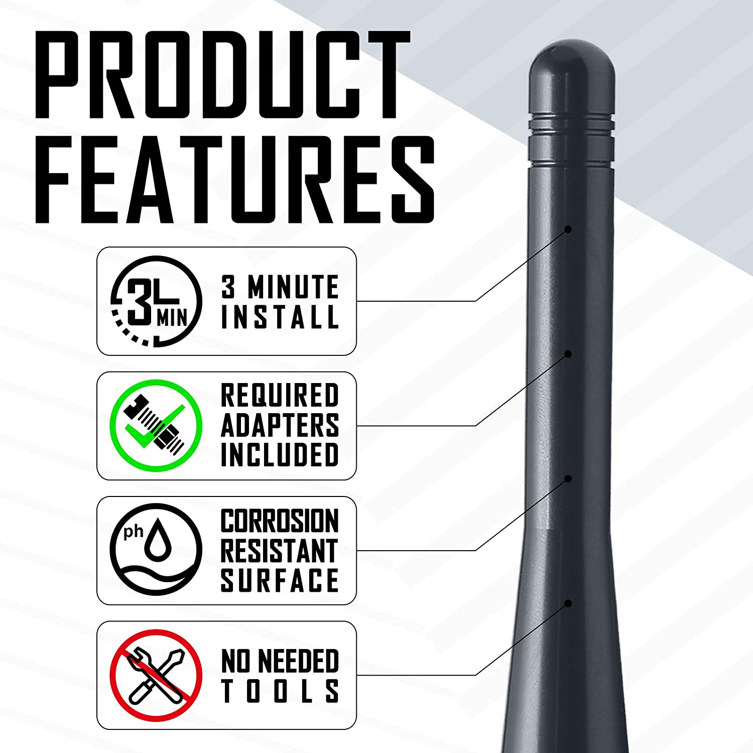 2 Inches Optimized AM//FM Reception with Tough Material Carbon/ Black Elitezip Replacement Antenna for Ford Raptor 2010-2018