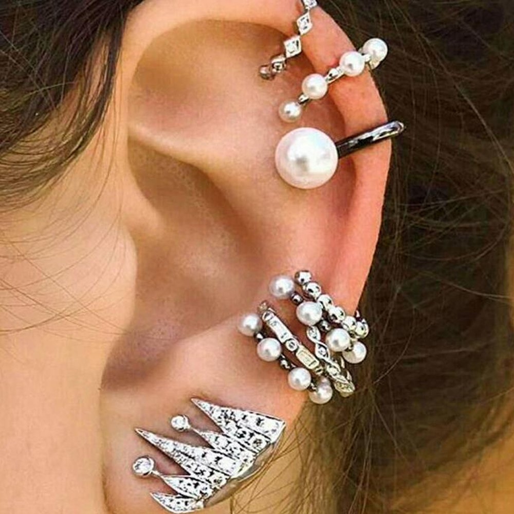Tassel Feather Cuff Earrings Set Vintage Punk Stud Earrings Set Boho Owl Fatima Carved Ear Jewelry