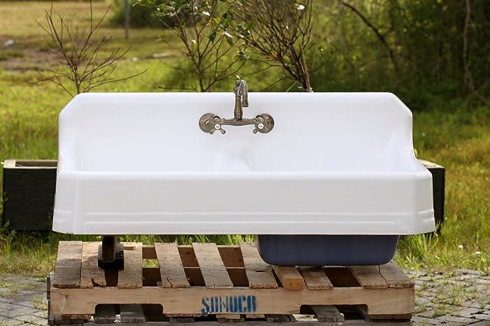 1934 Large 51u0026quot; Refinished Double Farm Sink Deep Basin Apron Cast Iron  Porcelain High Back