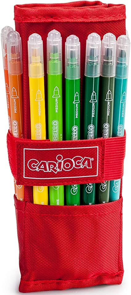 Carioca - Estuche Enrollable Con 24 Rotuladores Birello De Doble Punta, Fina Y Media, Multicolor: Amazon.es: Oficina y papelería