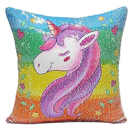 Cosanter Color Unicornio Lentejuelas Funda Cojín Funda de Cojín Unicornio Sofá Coche Decoración del Hogar Funda de Cojín Cuadrado 40X40CM