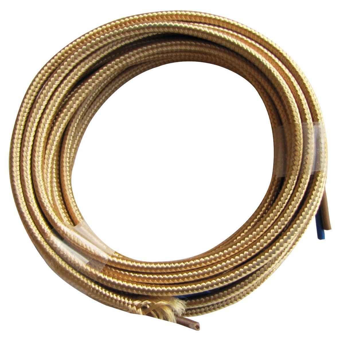 Tibelec 075230 - Cable elé ctrico textil plano 3 V 3 m color dorado