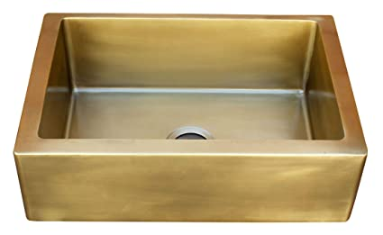 Double Kitchen Sink Smooth Brass Farmhouse Style with Apron ...