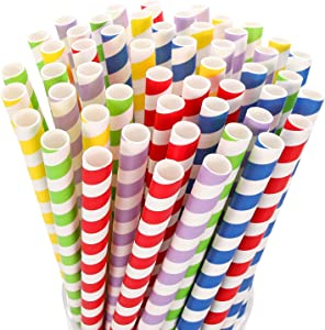 100 Pack Biodegradable Wide Paper Smoothie & Boba Straws - 10 mm Extra Wide Jumbo Paper Straws for Smoothies, Bubble/Boba Tea, Milkshakes, Jumbo Drinks - Great Party Supplies Decorations