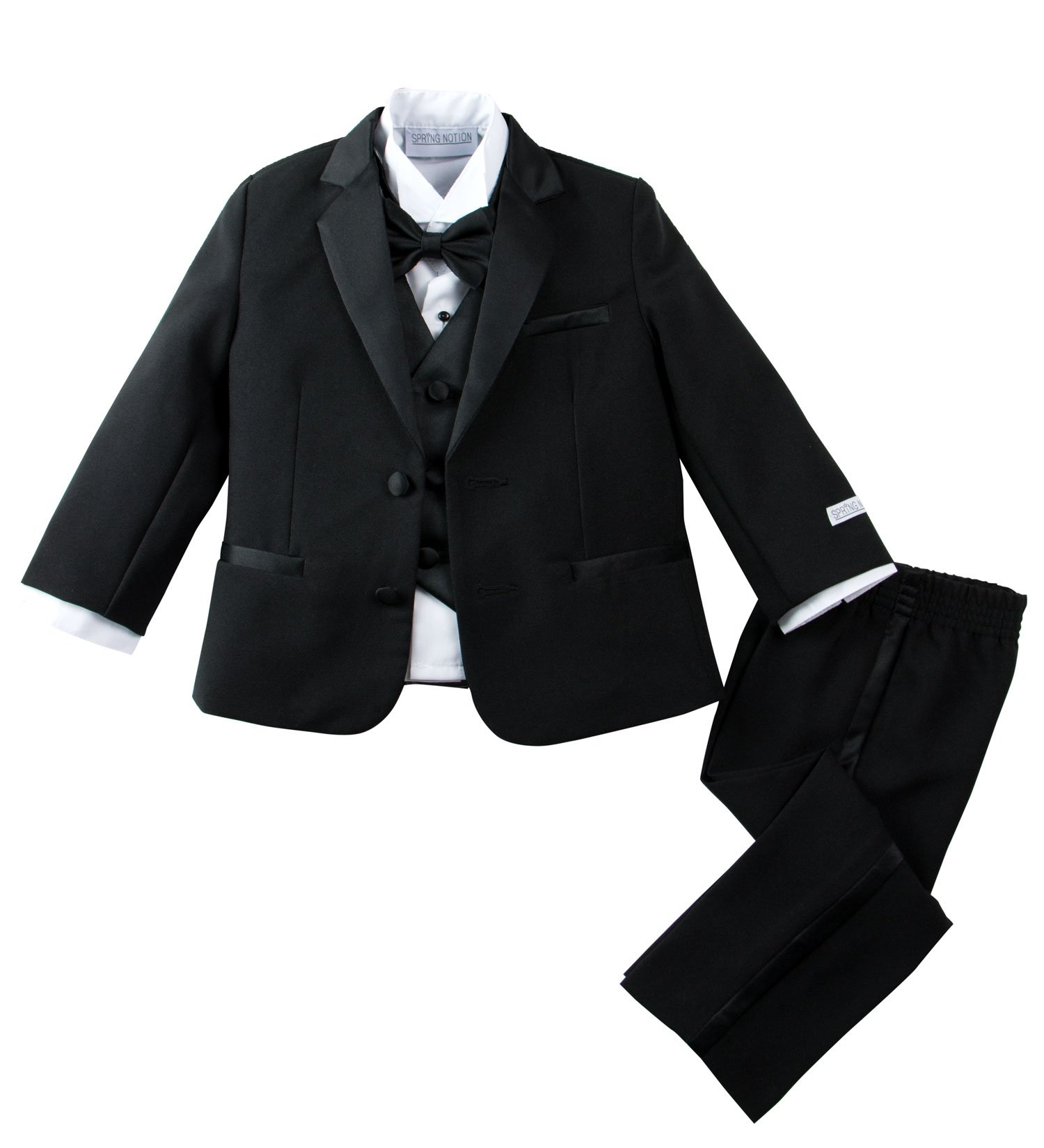 Spring Notion Baby Boys' Modern Fit Tuxedo Set, No Tail Small Black by Spring Notion