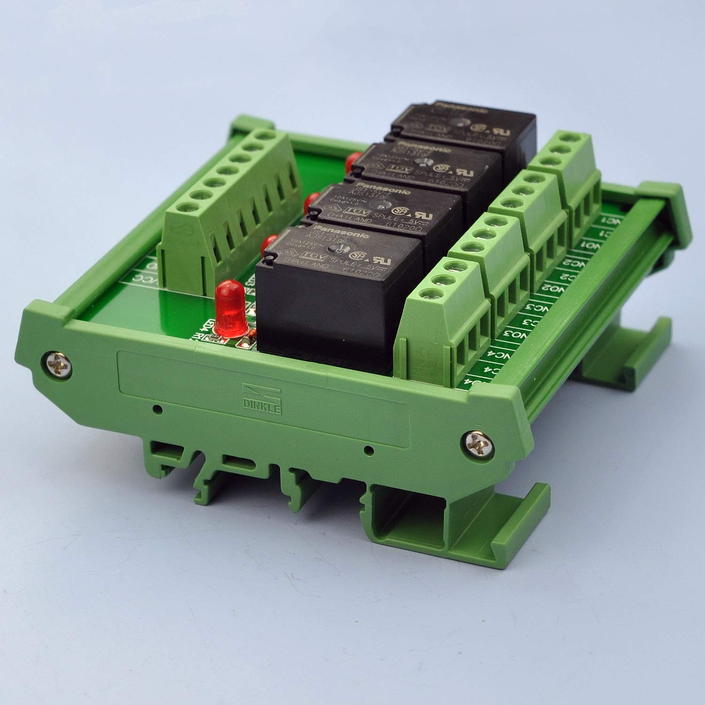10A-Relais 24V-Spule. Electronics-Salon DIN-Schienenmontage 4 SPDT-Leistungsrelais-Schnittstellenmodul