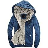 EGELBEL Men's Cotton Zip Up Winter Casual Hooded Hoodies Coat Thick Warm Jacket(X-SmallBlue)