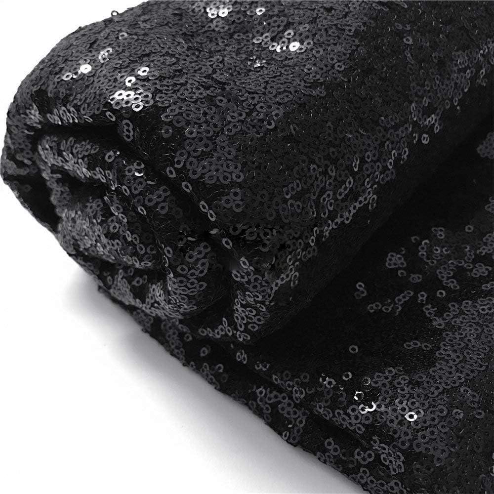 QueenDream Black Sequin Backdrop 5ft x 5ft Black Sequin Party Backdrop Rectangular Black Backdrop Curtain Party Decorations
