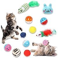 12 st kattleksak, kattleksak, fjädermusleksak, färgglad mus, plyschdocka, leopard boll, hårbollar, för inomhus katt…