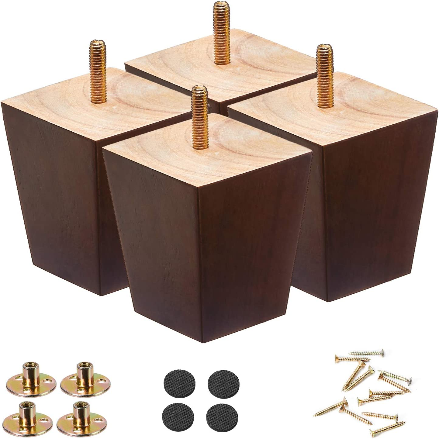Wood Furniture Legs 3 inch Sofa Legs Pack of 4,Couch Legs Square Brown,Mid century desk legs,Sofa replacement parts, For Dresser legs Sideboard Recliner couch Circle chair Couch riser Coffee Table