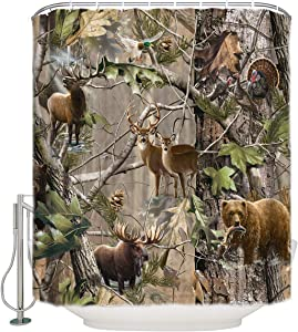 OneHoney Moslion Bird Bear Deer Elk Realtrees Real Tree Design Shower Curtain Standard Inch Size 66