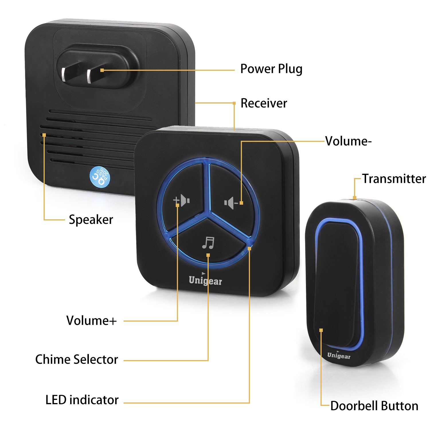 Wireless Doorbell Operating at 900 Feet Long Range with 48 Chimes