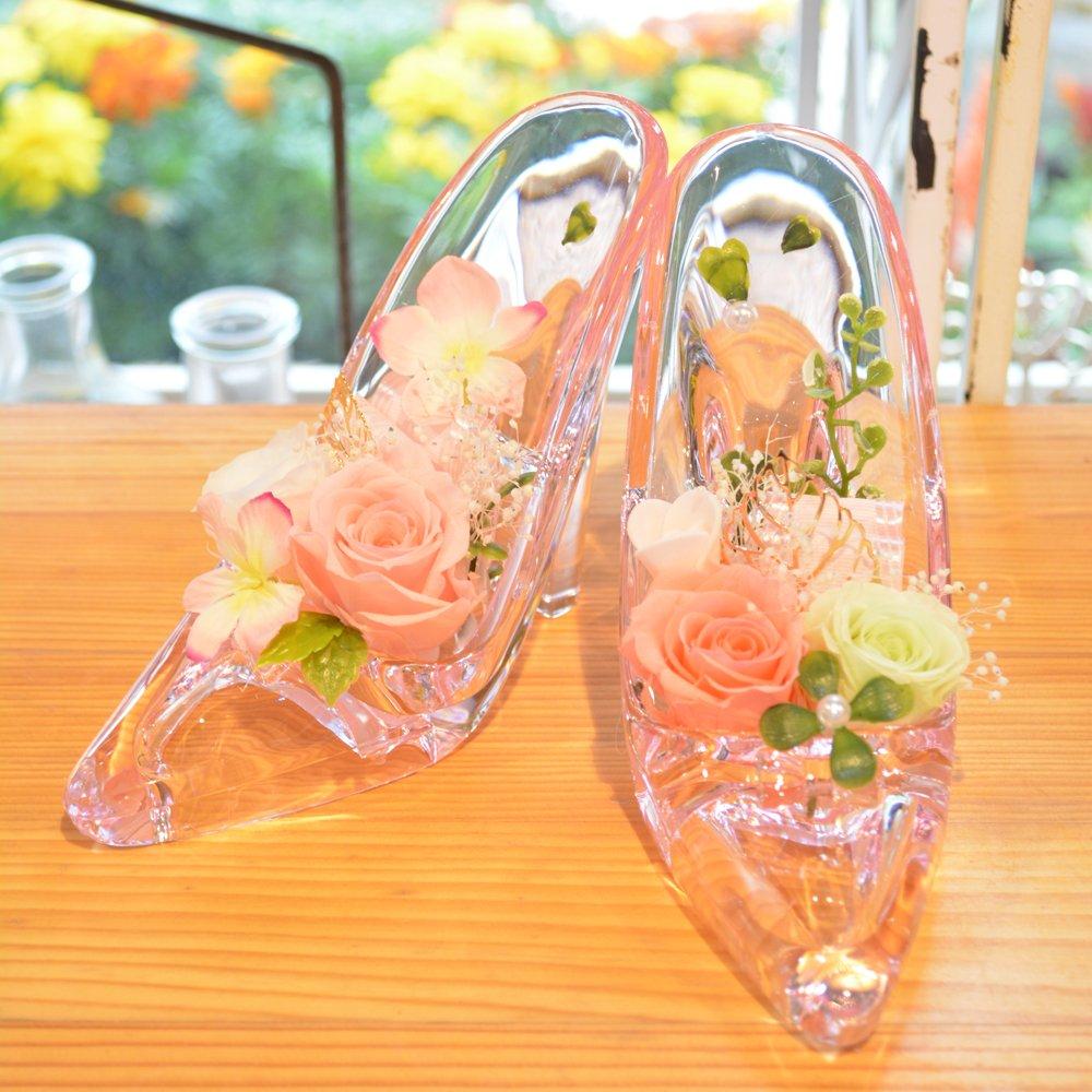[florence du]プリザーブドフラワー ハイヒール 2足セット ピンク クリアケース付 ガラスの靴 B01H6ALYR4