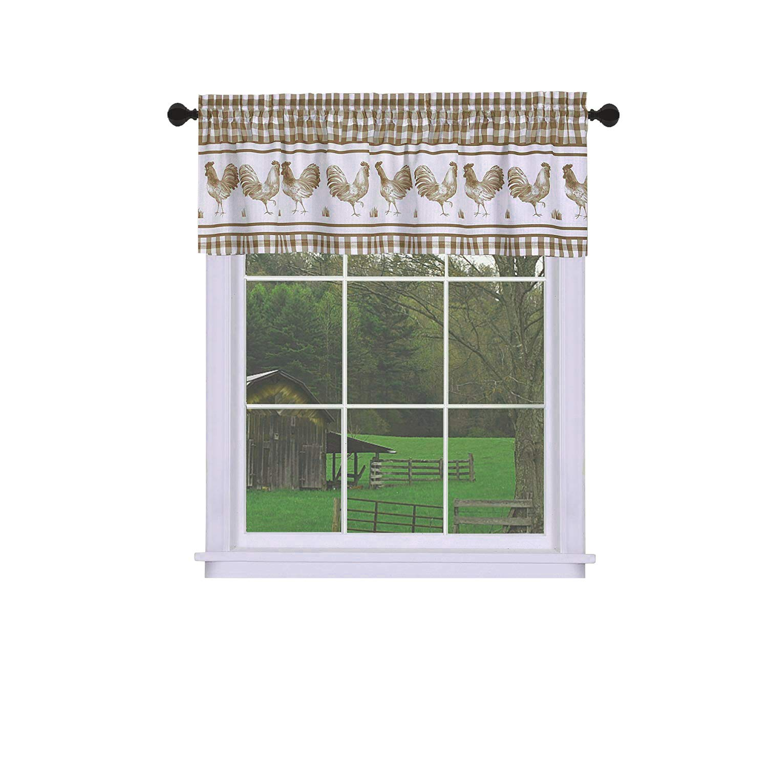 GoodGram Plaid Rooster Window Curtain Valance - Assorted Colors (Taupe)