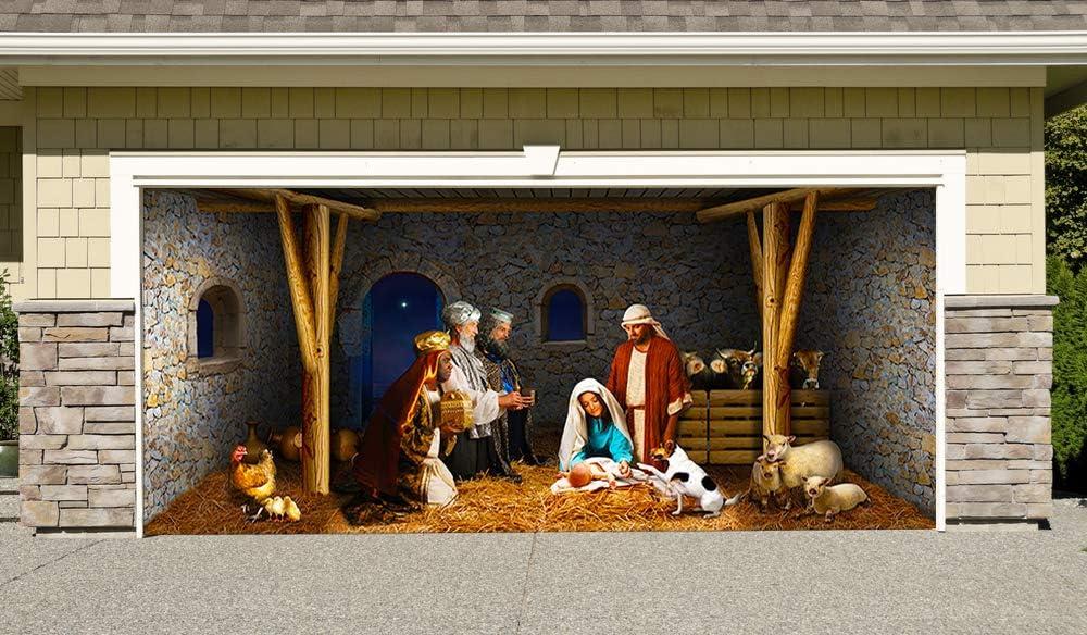 Outdoor Decoration Nativity Scene Christmas Holiday Home Garage Door Decor Banner Billboard 7' by 16'