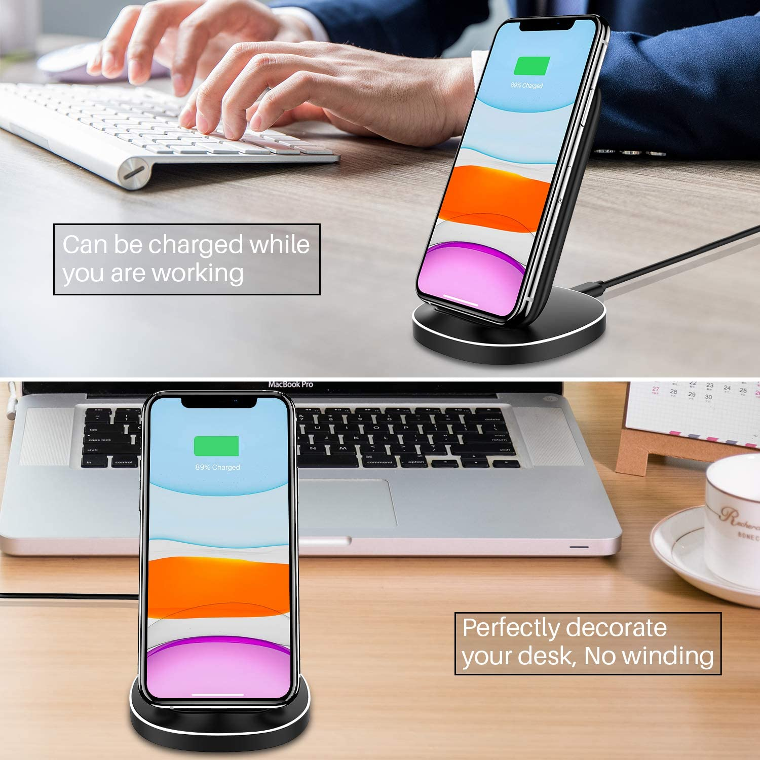 KKM Wireless Charger Google Pixel 3//4XL Huawei 15W Qi-Certified USB-C Fast Wireless Charging Stand for iPhone SE 2020//11 Pro Max Samsung Galaxy S20// S9 Plus//S10 OnePlus and More QI Enable Phones