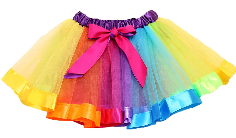 BELLE-LILI Little Girls Layered Rainbow Tulle Tutu Skirt Dance Dress