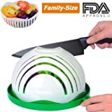 Salad Cutter Bowl, 60 Second Salad Maker Fast Fruit Vegetable Cutter Bowl, Family-Sized Durable FDA-Approved Salad Slicer Salad Chopper Strainer Cutting Board All in One for Kitchen