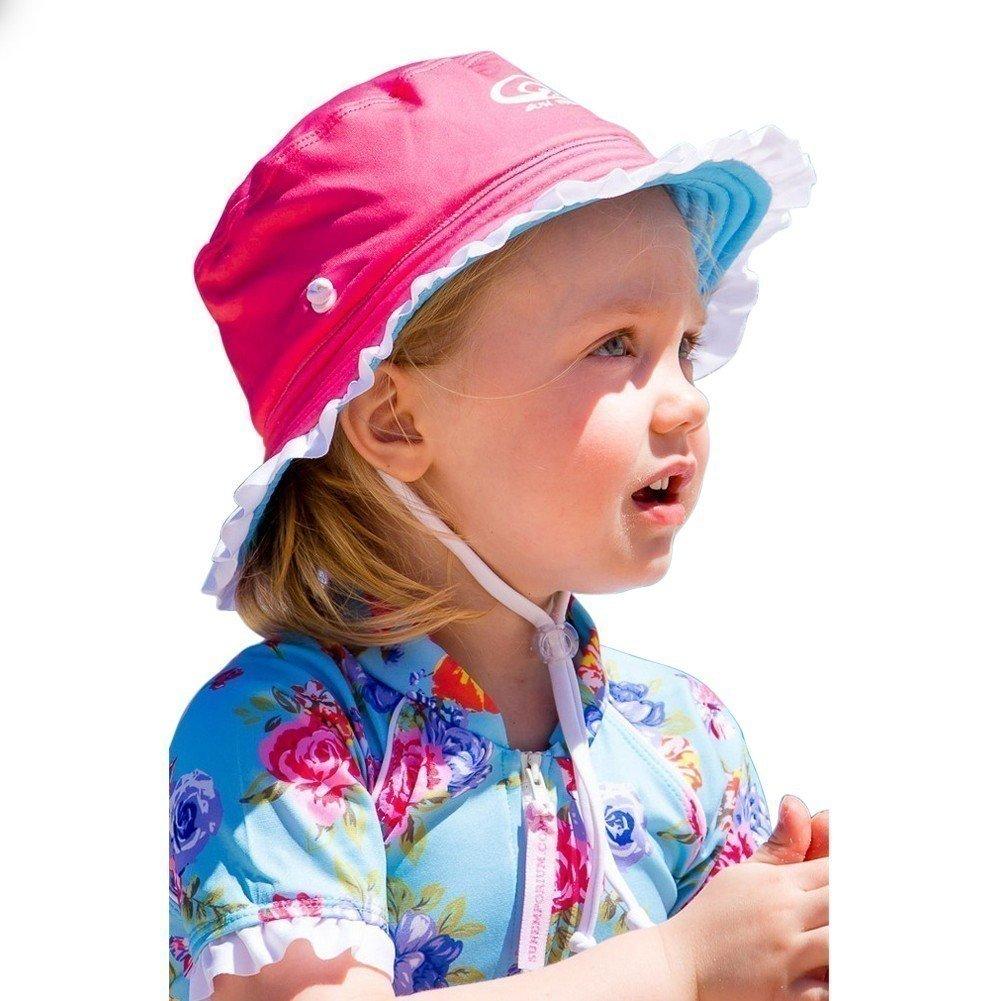 Sun Emporium Girls Coral Pink Aqua Reversible Brim Frill Hat XS