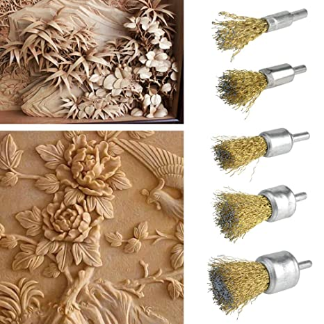 obmwang 15 Pack Wire Wheel Cup Brush Set with 1//4 Inch Round Shank 5 Sizes Brass Coated Wire Drill Brush for Paint Removal Project//Corrosion//Rust