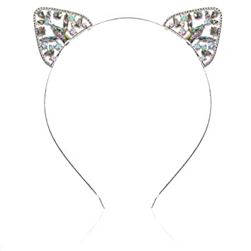 b9d3141e1 Amazon.com : Women or Girls Iridescent Crystal Cat Ears Headband for All  Ages (Silver) : Beauty