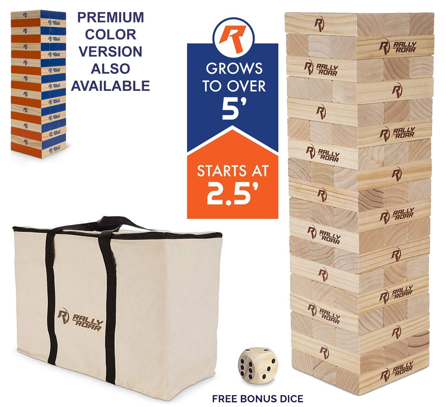Rally and Roar Toppling Tower Giant Tumbling Timbers Game 2.5 feet Tall (Build to Over 5 feet)- Classic Wood Version - for Adults, Family - Stacking Blocks Set w/Canvas Bag by Rally and Roar