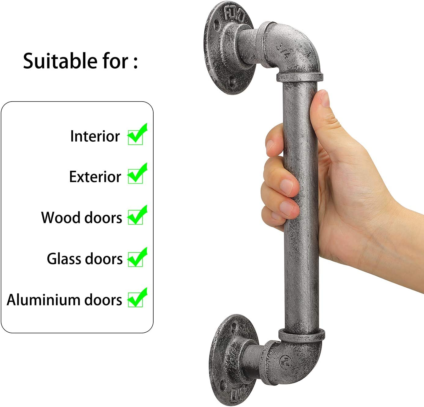 Matte Silver 12 Inch Set of 2 Industrial Pipe Door Pull Handle Antique Rustic Cast Iron Handrail