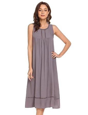 Keelied Damen Baumwolle Nachthemd Ärmelloses Nachtkleid Nachtwäsche ...