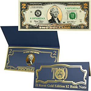 22k Gold Layered Uncirculated Two Dollar Bill - Special Edition Collectible Currency