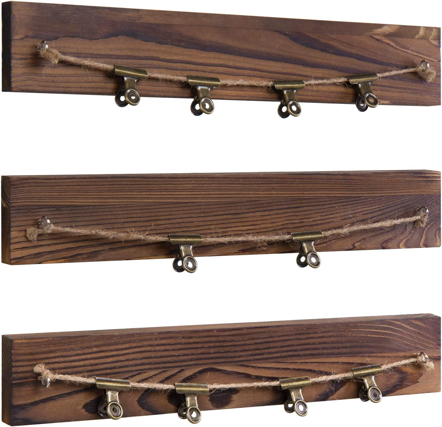 MyGift Burnt Dark Brown Wood /& Rope Photo Hangers with 10 Vintage Clips Set of 3