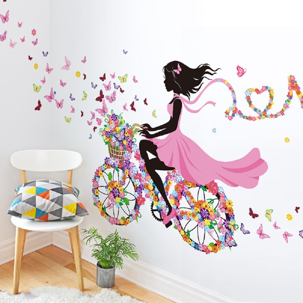 "SWORNA Nature Series SN049 Flower Butterfly Girl on Bicycle Removable Vinyl DIY Wall Art Mural Sticker Decal Decor for Living Room/Bedroom/Playroom/Hallway/Kindergarten/Home Office/School 28""H X 55""W"