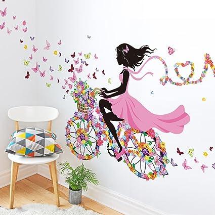 SWORNA naturaleza serie sn049 flor mariposa niña en bicicleta ...