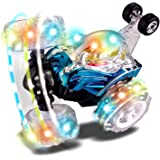 Blue RC Rolling Stunt Car Rechargeable Turbo Twister Radio Control Spin Truck with Color flash & Music switch by Poco Divo