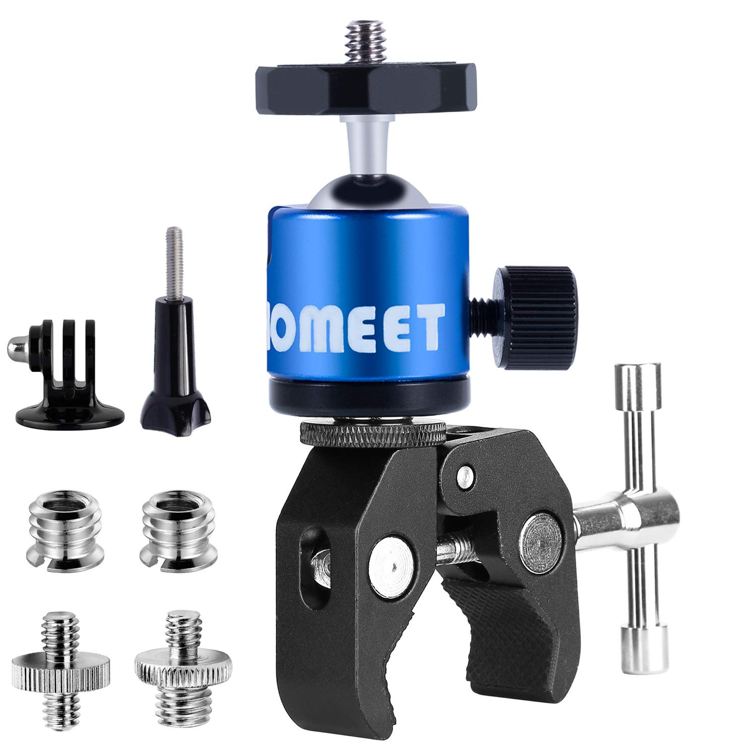 Homeet Clamp Mount for Action Camera with Ball Head Clamp Stands Metal with 1/4\