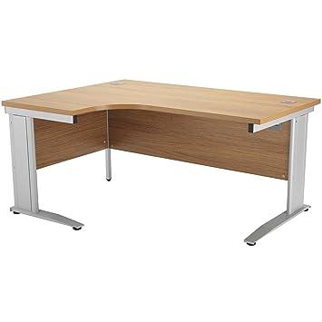 Un cable media luna en voladizo escritorio blanco patas: Amazon.es ...