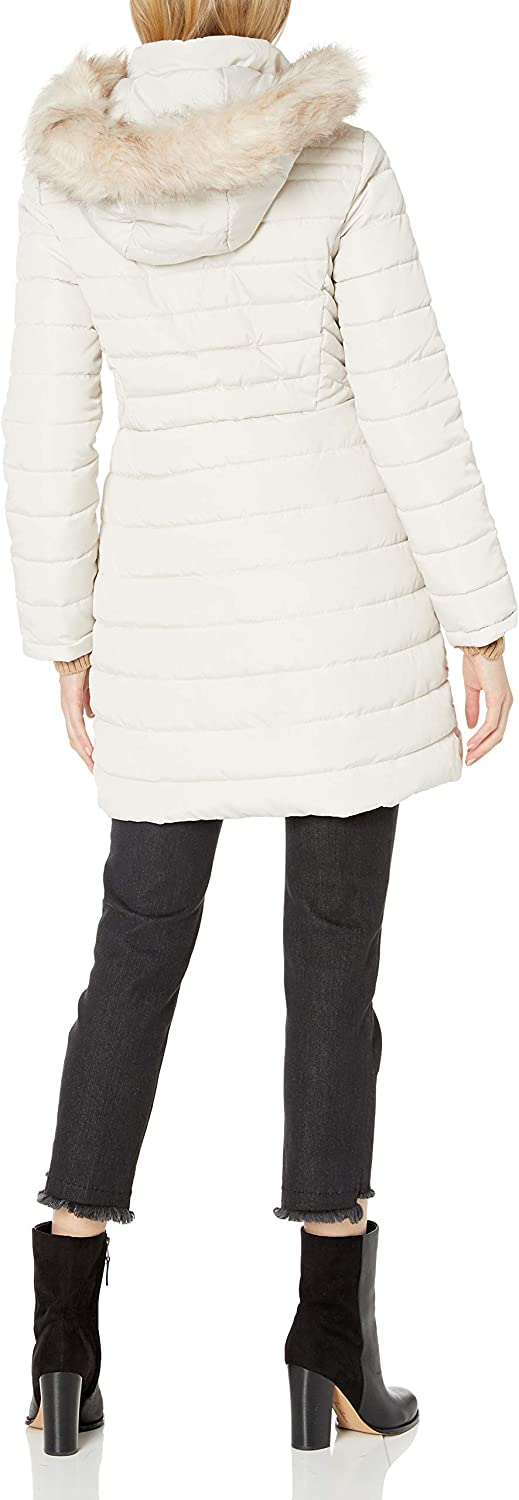 Kenneth Cole Womens 3//4 Mixed Quilted Puffer with Faux Fur Trimmed Hood