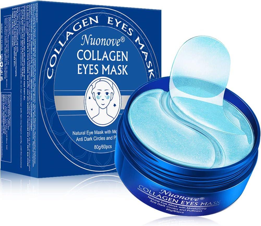 Máscara para los ojos, Parches para los ojos, Ojos Parches, Máscara para ojos de colágeno, Contorno de Ojos Antiarrugas, Anti edad para ojeras,bolsas,patas de gallo e hinchazón, 60Pcs