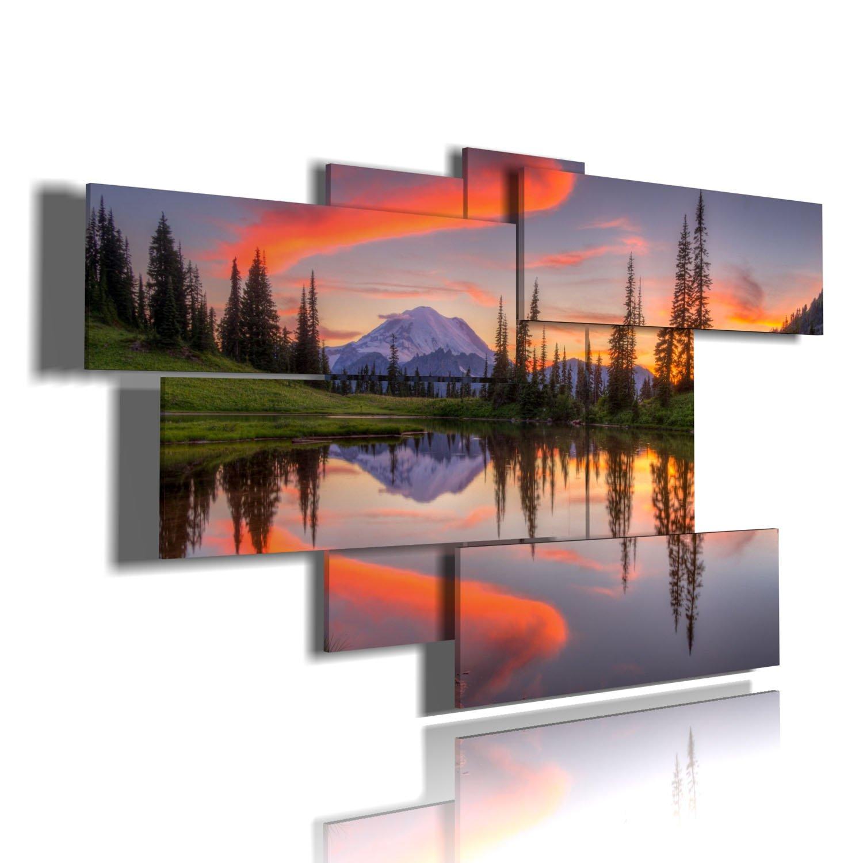 Rahmen modern Lake Tipsoo – Washington – Gemälde auf zwei Ebenen by duudaart 172x103cm. a150706-g0106